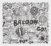 Doodle hot air balloon elements Stock Images