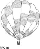Doodle Hot Air Balloon Vector Illustration. Royalty Free Stock Photo