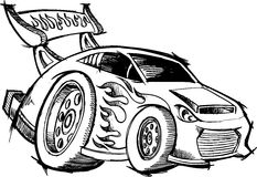 Doodle Hot-Rod Race-Car Royalty Free Stock Photos