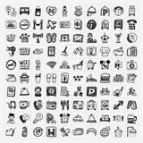 Doodle hotel icons set Royalty Free Stock Image