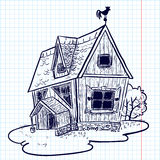 Doodle house. Sketchy doodle hand-drawn house (cottage Stock Photos