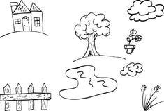 Doodle house and garden Stock Photos