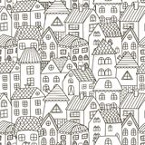 Doodle houses seamless pattern. Black and white city background Stock Photos