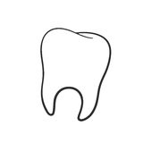 Doodle of human tooth. Vector illustration. Hand drawn doodle of human tooth. Oral hygiene symbol. Cartoon sketch. Decoration for greeting cards, posters Stock Photography