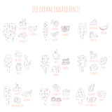 Doodle ice cram and ingredients Royalty Free Stock Images