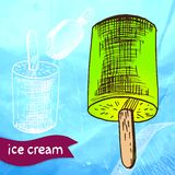 Doodle ice cream frozen dessert style sketch Stock Photos
