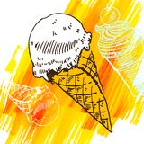 Doodle ice cream frozen dessert style sketch Royalty Free Stock Photos