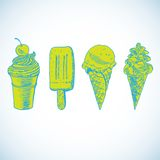 Doodle ice cream frozen dessert style sketch Stock Images