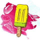 Doodle ice cream frozen dessert style sketch Royalty Free Stock Images
