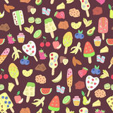 Doodle ice cream, fruits, berry, sweets pattern Stock Images
