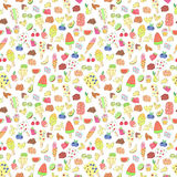 Doodle ice cream, fruits, berry, sweets pattern Royalty Free Stock Photos
