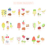 Doodle ice cream and ingredients Royalty Free Stock Photography