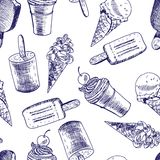 Doodle Ice cream seamless background Stock Photography