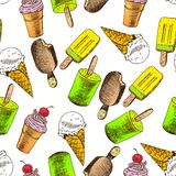 Doodle Ice cream seamless background Royalty Free Stock Photography