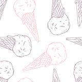 Doodle ice cream in a waffle cone. Outline Royalty Free Stock Photo