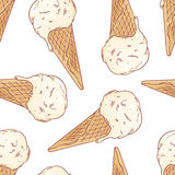 Doodle ice cream in a waffle cone seamless pattern. Vector illustration Royalty Free Stock Photos