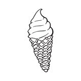 Doodle of ice cream in the waffle cone. Vector illustration. Hand drawn doodle of ice cream in the waffle cone. Cartoon sketch.  Decoration for menus, signboards Royalty Free Stock Photo