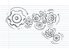 Doodle icon of gears. Technology,Drawn in black ink on lined notebook paper Stock Photography
