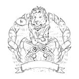 Doodle icon with lion and revolvers. Royalty Free Stock Image