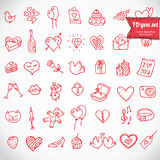 Doodle icon set isolated,. I love you doodle icon set isolated, vector illustration hand drawn stock illustration