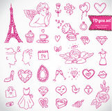 Doodle icon set isolated, Stock Image