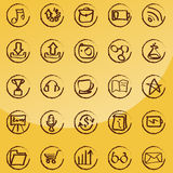 Doodle icon set - web & internet. Vector set: calligraphic design elements and page decoration - lots of useful elements to embellish your layout Royalty Free Stock Photo