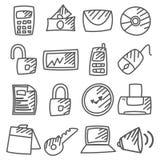 Doodle: Iconos de la oficina fijados Foto de archivo