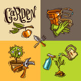 Doodle icons garden Stock Image