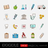 Doodle icons medical set. Doodle Healthcare icons .With thermometer stethoscope tablet capsule apple ambulance syringe tooth medical card Hospital Medical stock illustration