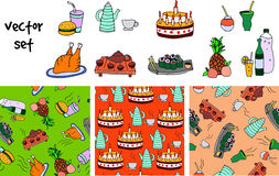 Doodle icons and pattern Stock Photo