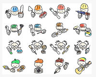Doodle icons of professions Royalty Free Stock Images