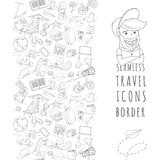 Doodle icons seamless travel frame Royalty Free Stock Images