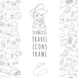 Doodle icons seamless travel frame Stock Photography