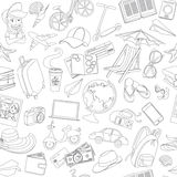 Doodle icons seamless travel pattern Royalty Free Stock Image