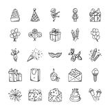 Doodle Icons Set Of Celebration And Party. This is a creative, unique set of doodle icons for celebration and party projects. A perfect pack to be used in your Royalty Free Stock Photos