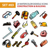 Doodle Icons Set - Construction and Building. Stock Photos