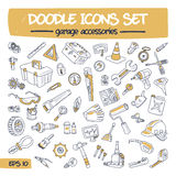 Doodle Icons Set - Garage Accessories. stock illustration