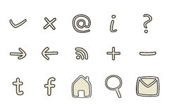 Doodle icons set isolated on white background. Doodle vector icons - arrow, home, rss, search, mail, ask, plus, minus, social media. Web tools symbols set stock illustration