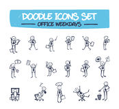 Doodle Icons Set - Office Weekdays. Royalty Free Stock Photos