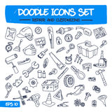 Doodle Icons Set - Repair and Customizing. Sketch Sign Illustration on Paper of Hand Drawn Tools. Hand Drawing Line Icons for Web, App, Mobile, Business Stock Photography