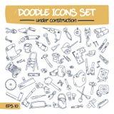 Doodle Icons Set - Under Construction. Stock Images