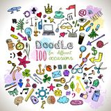 Doodle Icons set. Doodle 100 Icons. Universal set drawing objects painted with colored felt pen. Vector royalty free illustration