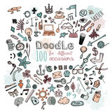Doodle Icons set. Doodle 100 Icons. Universal set drawing objects. Pastel color royalty free illustration