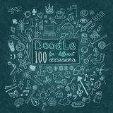 Doodle Icons set. Doodle 100 Icons. Universal set on textured background. Vector stock illustration
