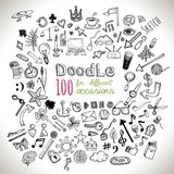 Doodle Icons set. Doodle 100 Icons. Universal set . Vector Stock Images