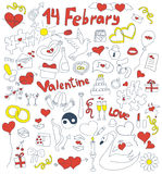 Doodle icons for St. Valentine's day. Royalty Free Stock Photos