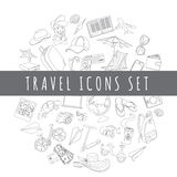 Doodle icons travel set Stock Images