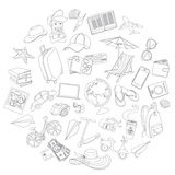 Doodle icons travel set Royalty Free Stock Image
