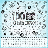 100 Doodle Icons Universal Set stock illustration