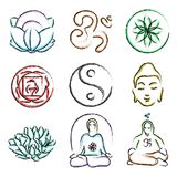 Doodle icons of yoga Stock Photos